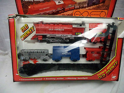 Vintage 1986 New Bright #1194 OLD SMOKEY Battery Operated Train Set in Box Works