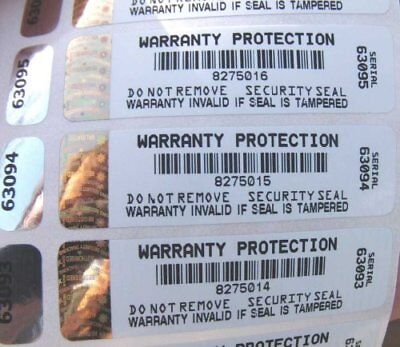 Warranty Void Tamper Evident Labels with Hologram x 100 VOID OPEN and side label