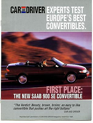1995 Saab 900SE Convertible Roadtest Brochure my6364