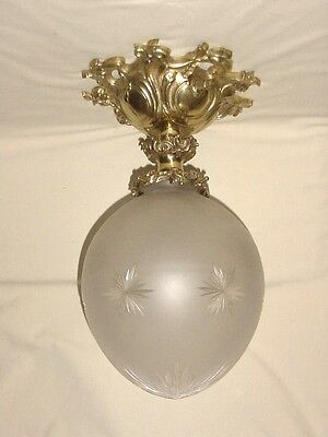 Bronze Brass Ceiling Lighting Fixture Sconce Crystal Glass Globe France 17""