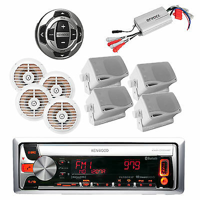 Kenwood Marine Bluetooth Pandora USB/CD iPod Stereo,Amp,8 Speakers+ Wired Remote