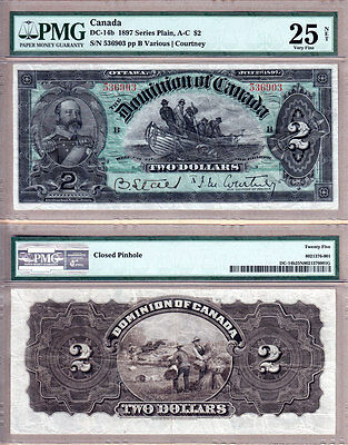 1897 $2 Dominion of Canada Fishing Dory. Beautiful Strong Color PMG VF25. DC-14b
