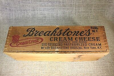 Breakstone's cow CREAM CHEESE wood box crate vintage old graphics • CAD $37.78
