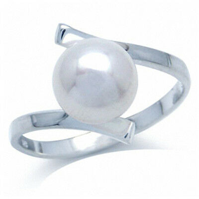 8MM Natural White Freshwater Pearl 925 Sterling Silver Bypass Ring