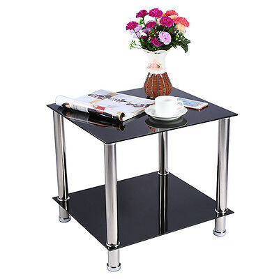 Black Glass & Chrome Legs Nesting Coffee Side Coffee Lamp End Table Sets NEW