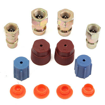 A/C R-12 to R-134a Retrofit Conversion Adapter Kit Fitting 7/16 3/8 SAE Valves