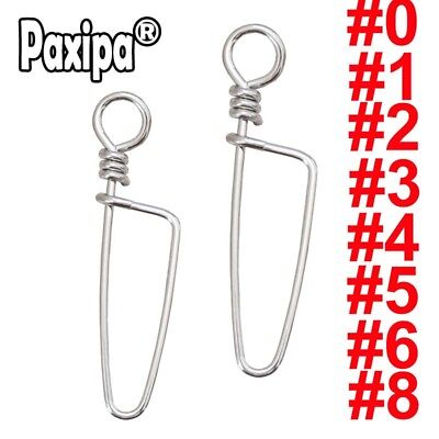 Lot 100 Stainless Steel Fishing Coastlock Snaps Fastlock Clips for Barrel Swivel
