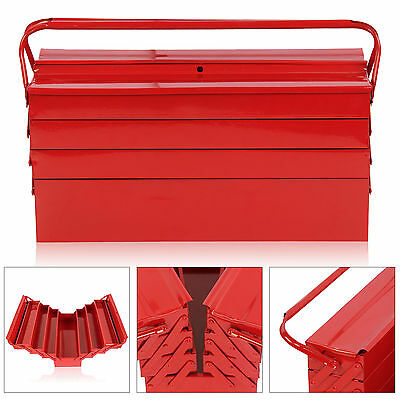 Heavy Duty LARGE RED METAL TOOLBOX Tool Box Storage Cantilever 4 Tier 7 Tray