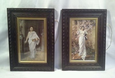 ANTIQUE PAIR OF PAINTING PRINTS ON PORCELAIN VICTORIAN MAIDENS CIRCA 1880's