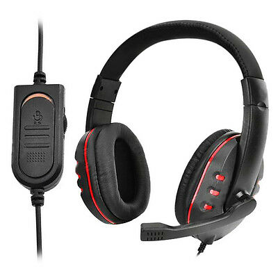 Black+ Red Wired Gaming Headset Headphones With Mic For Play Station 4 PS4 PSP