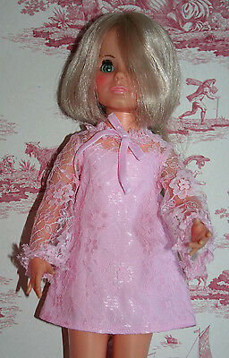 Fab Pink Lace Dress For Ideal Crissy Sized Dolls
