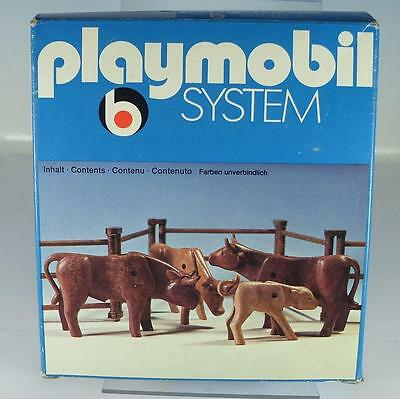 Playmobil 3275 Western 3 Stiere 1 Kalb & Gatter in O-Box 70er Jh #15