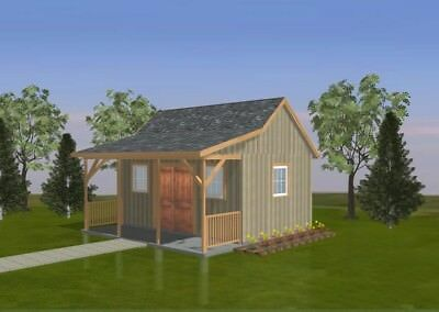 SHED PLANS BLUEPRINTS  12 ft x 18 ft  WITH PORCH