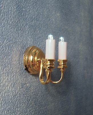 1/12Th Scale Dolls House Led  Twin Candle Wall Light Including Battery