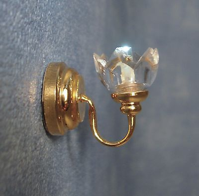 1/12Th Scale Dolls House Led Lily Shade Wall Light Including Battery