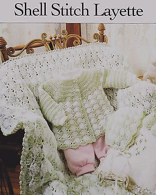 Crochet Pattern Baby Shell Stitch Sacque Bonnet Booties Afghan