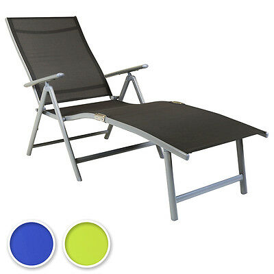 Charles Bentley Foldable Sun Lounger 7 Positions Reclining Camping Chair Sunbed