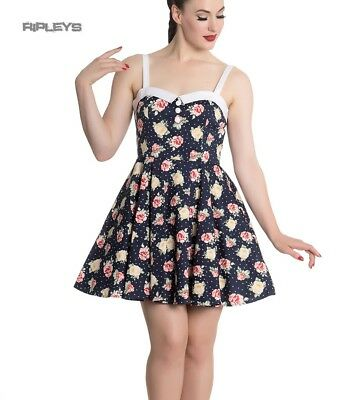 10643dab8a1 Hell Bunny Navy Blue Floral Roses Flowers Mini Dress EMMA Polka Dot All  Sizes