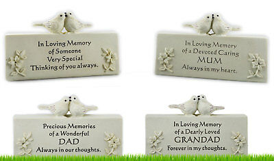 Memorial Plaque Grave Stone Ornament Birds Flowers Loved One Missed Cemetery