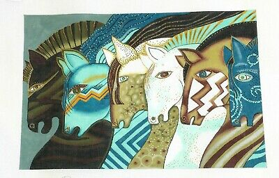 """SP.ORDER ~ Laurel Burch """"EMBRACING HORSES"""" HP Needlepoint Canvas & STITCH GUIDE"""