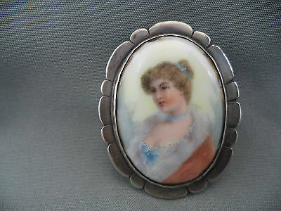 Sterling Silver Victorian Lady Portrait Hand Painted Porcelain Cameo Brooch Pin