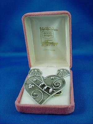 Bond Boyd Sterling Silver Heart Brooch & Screwback Earrings in Box W Hang Tag