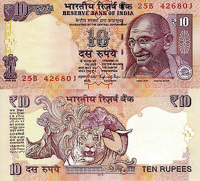 INDIA 10 Rupees Banknote World Currency Money BILL Asia p102g 2013 Note Gandhi
