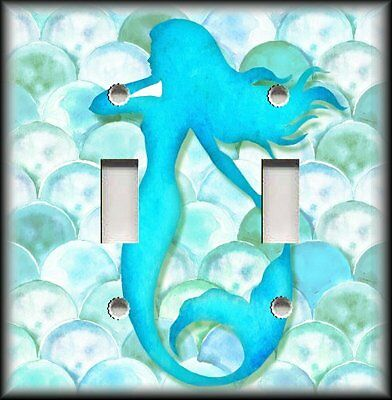Metal Light Switch Plate Cover - Mermaid Decor Silhouette Light Aqua Blue Decor
