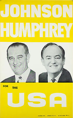 Lyndon JOHNSON Hubert HUMPHREY FOR THE USA scarce paper poster 1964 campaign