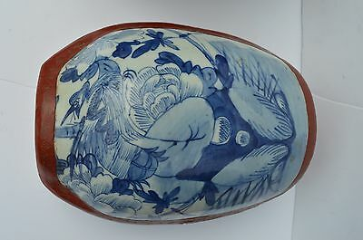 Wonderful Vintage Chinese Hand Painted Laquer Blue White Porcelain Cover Baskete