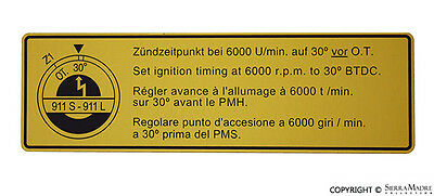 Timing Decal, Porsche 911S(67-68), 911l (1968), 901.006.510.00
