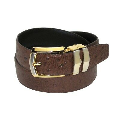 OSTRICH Pattern CHOCOLATE BROWN Bonded Leather Men's Belt Gold-Tone Buckle