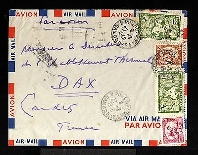 11940-INDOCHINA-AIRMAIL COVER PHNOMFENH(cambodia) to DAX (france) 1949.WWII.