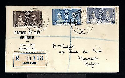 11933-ADEN-REGISTERED COVER ADEN CAMP to BRUSSELS (belgium) 1937.WWII.BRITISH.