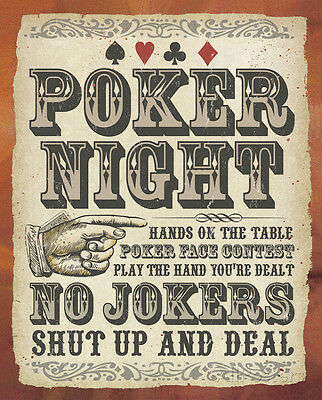 Poker Night Tin Sign - 12x15
