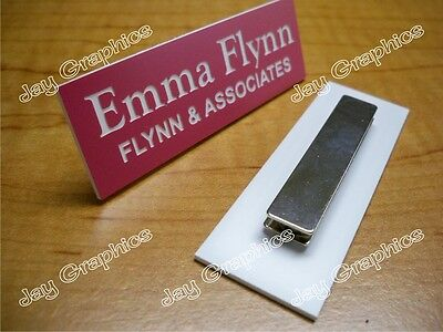 Custom Engraved 1x3 Pink Name Tag | Badge & Magnet | Employee Identification ID