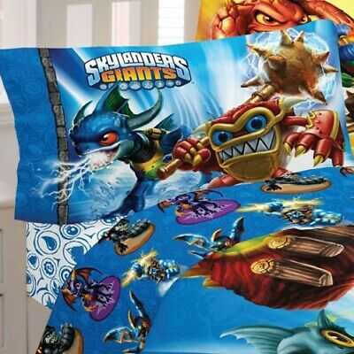 nEw SKYLANDERS GIANTS Spyro BED SHEET SET - Blue Video Game Bedding Accessories