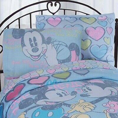 Disney Mickey and Minnie Mouse Bed Sheet Set Vintage Hearts Bedding Accessories