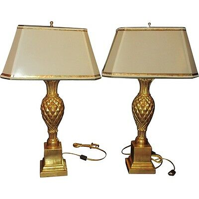 Superb Pair of Thomas Morgan Designer Table Lamps  with Pineapple Bases • CAD $982.80