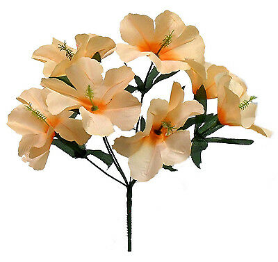 5 HIBISCUS ~ PEACH  Silk Wedding Flowers Bridal Bouquets Centerpieces Decoration