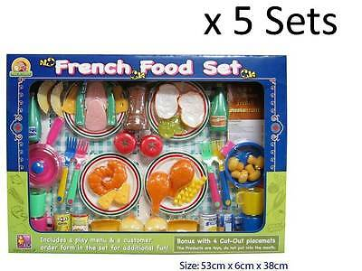Lot 5 X Pretend Play French Food Ethnic Dinner Meal Restaurant Kids Cooking Toy