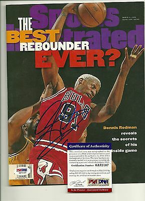 PSA AUTHENTICATED Dennis Rodman signed Sports Illustrated Chicago Bulls SI AUTO