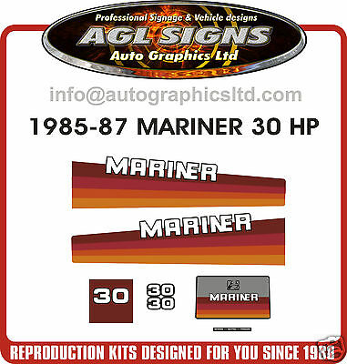 1985 1986 1987 MERCURY MARINER 30 hp OUTBOARD DECAL KIT  stickers reproductions