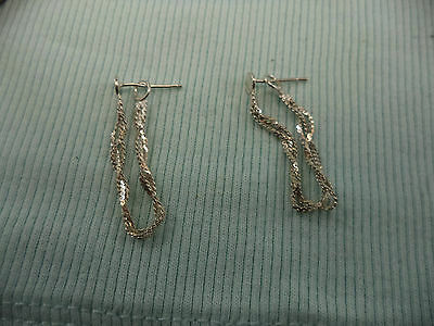 Sterling Silver 3 Strand Twisted Chain Drop Dangle Earrings Pierced 1.4g