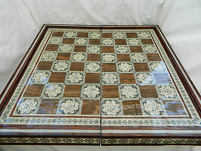 "Egyptian Inlaid Mother Pearl Wooden Chess Backgammon 21"" Handmade With Pieces"