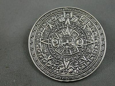 Incredible Detail Silver Mexican Sun Dial Brooch Pendant Unsigned Gomez?