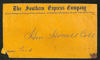THE SOUTHERN EXPRESS COMPANY TELEGRAPH COVER HOWELL COBB (c. 1866)