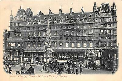 CHARING CROSS HOTEL AND RAILWAY STATION ENGLAND TRAIN DEPOT POSTCARD (c. 1910)