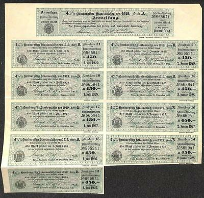 Germany Inflation Bond 20,000 Marks 1919-1929 Coupons (Rk)