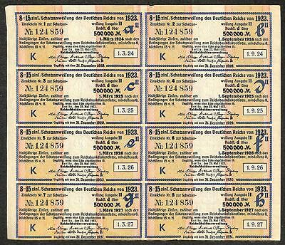 Germany Inflation Bond 500,000 Marks Nr 124859 8 Coupons 1923-1931 (Rk)